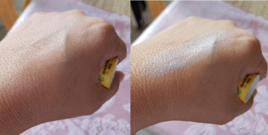 suncreen before and after rubbing in