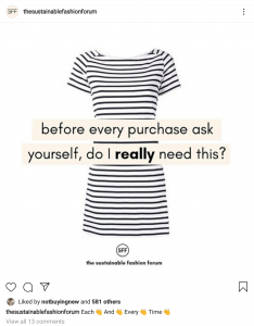 """Wardrobe minimalism Image with words """"before every purchase, ask yourself, do I really need this?"""""""